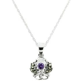 Scottish Thistle Silver Pendant with Marcasite & Amethyst colour stone 9893